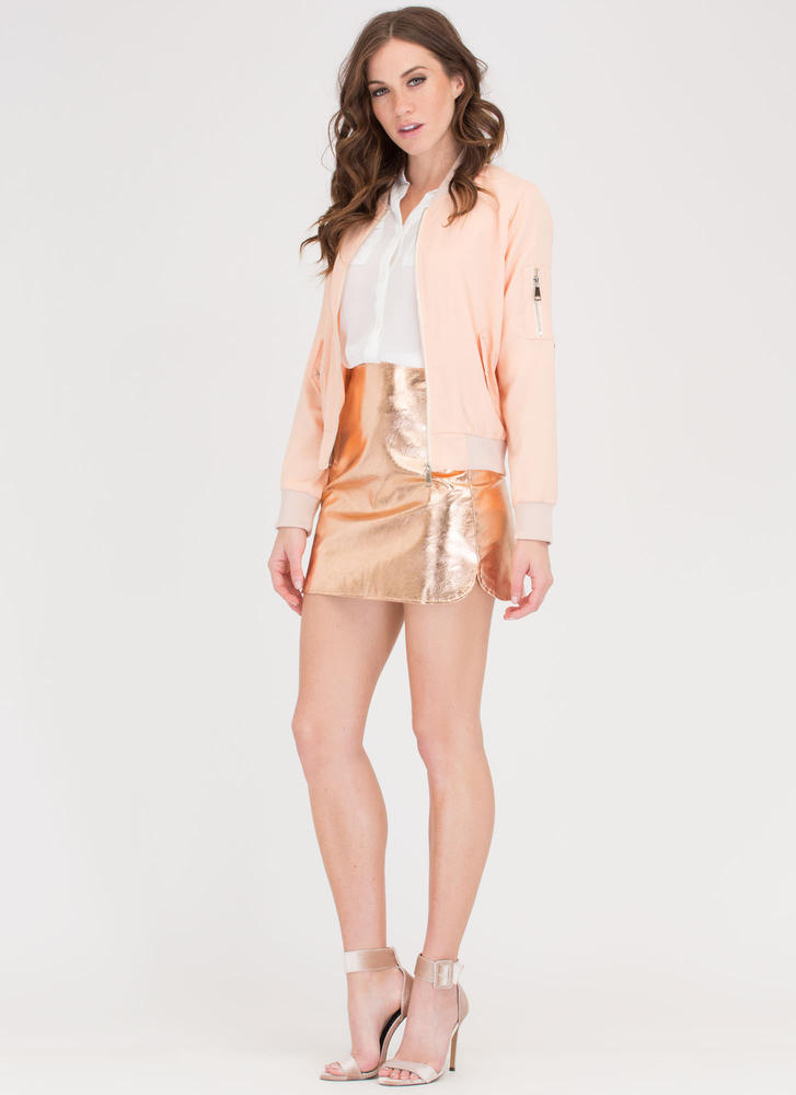 Cover Up Operation Bomber Jacket PEACH