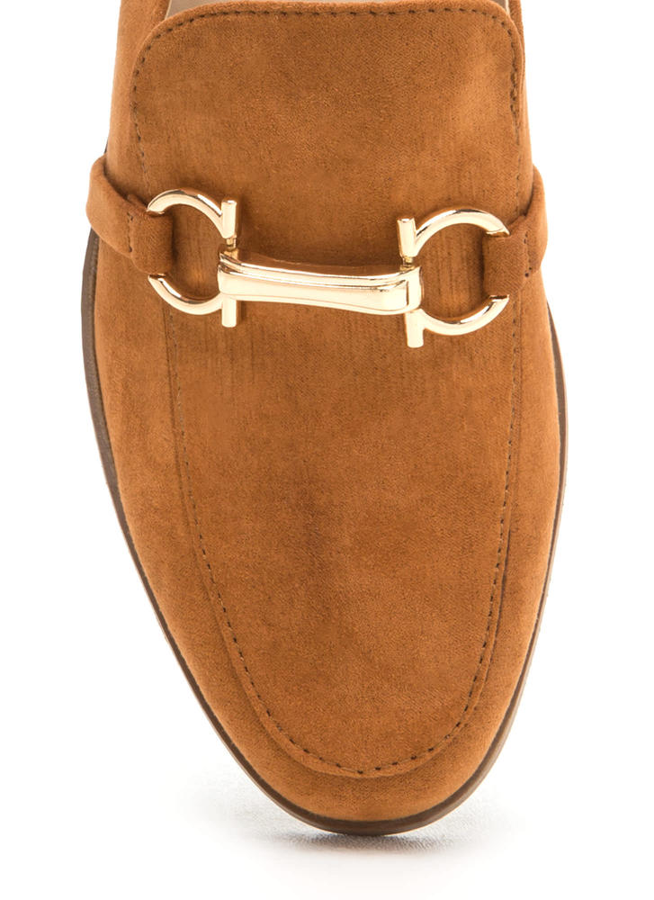 Equestrian Show Faux Suede Mules WHISKY