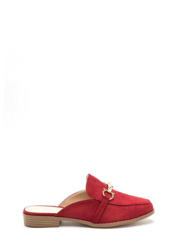 Equestrian Show Faux Suede Mules WINE