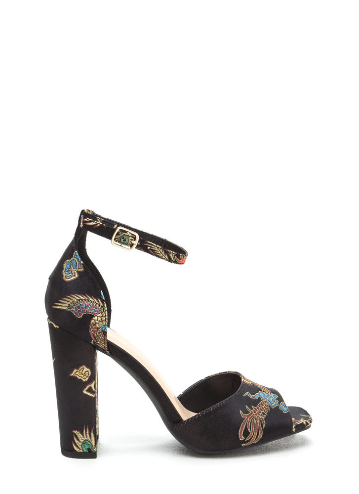 Luxe Chic Chunky Embroidered Satin Heels BLACK