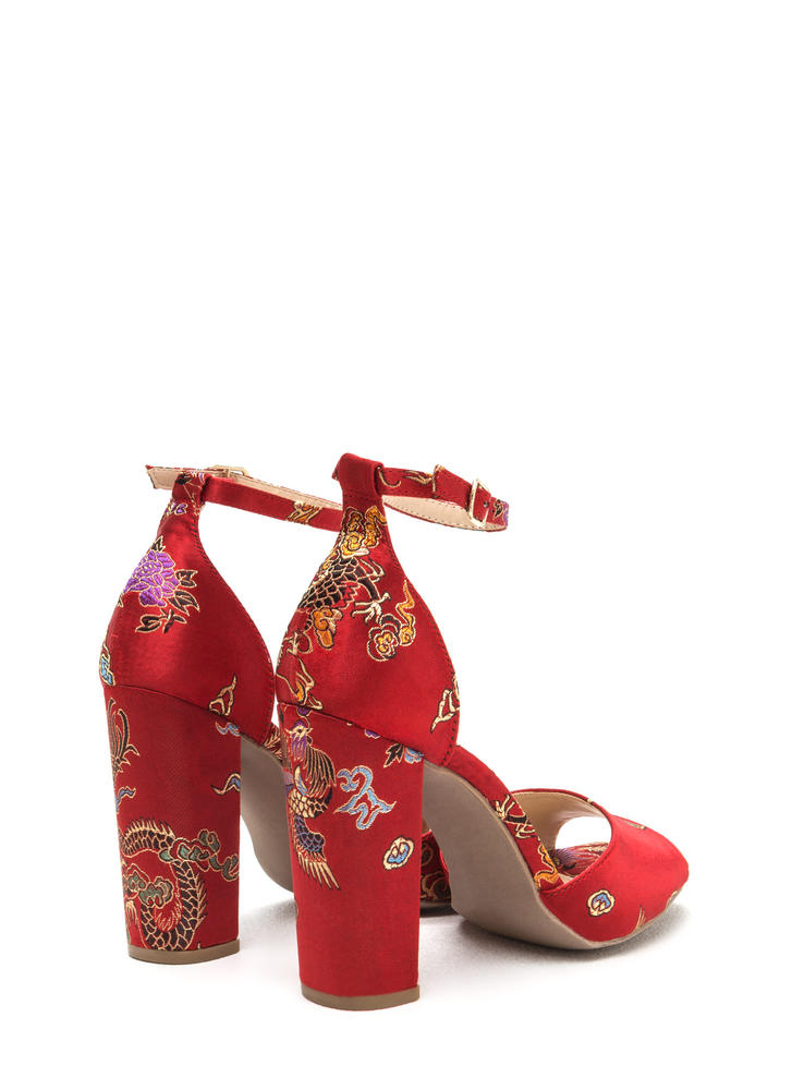 Luxe Chic Chunky Embroidered Satin Heels RED