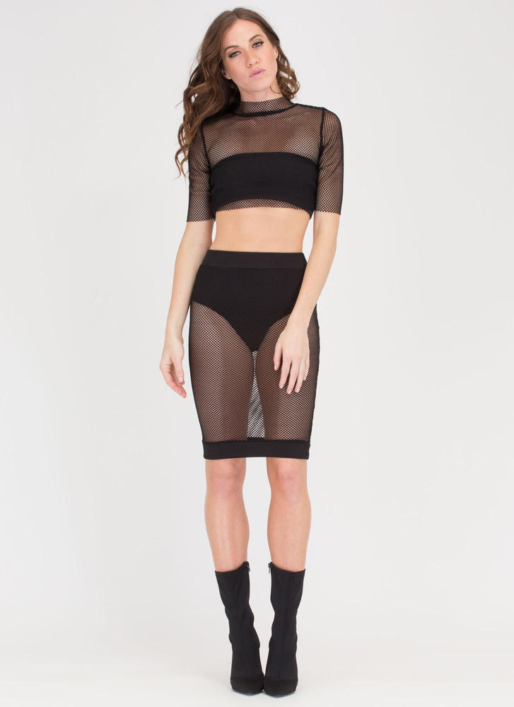 Nothin' But Fishnet Two-Piece Dress