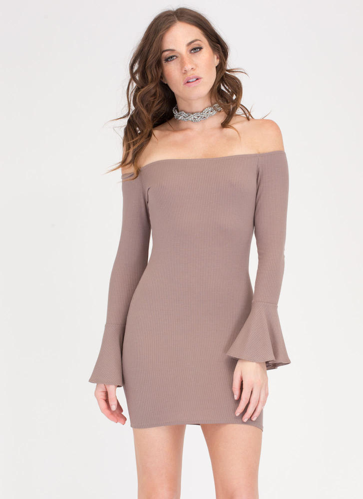 Bell Of The Ball Off-Shoulder Dress MOCHA
