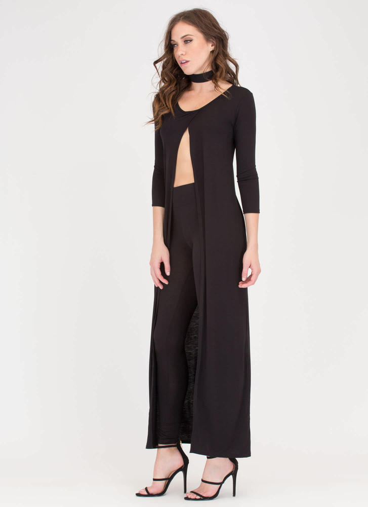 Split Happens Maxi Top And Pant Set BLACK