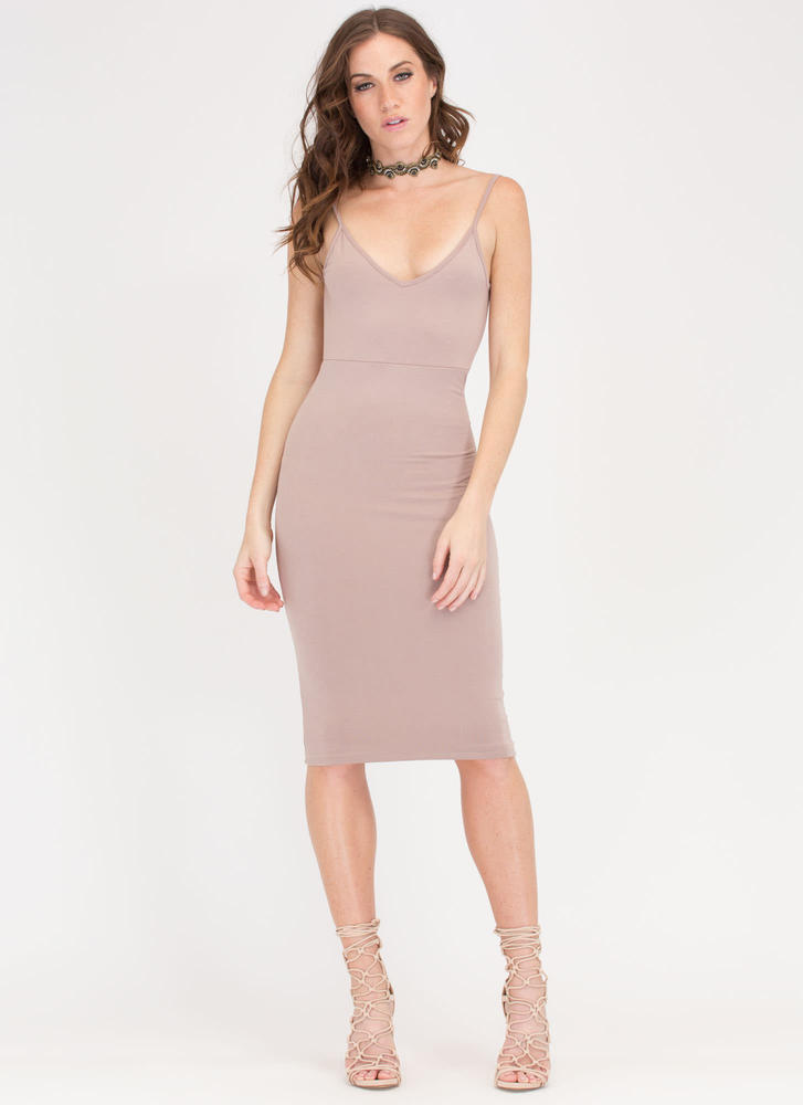 Knotty Thought Open Back Midi Dress TAUPE