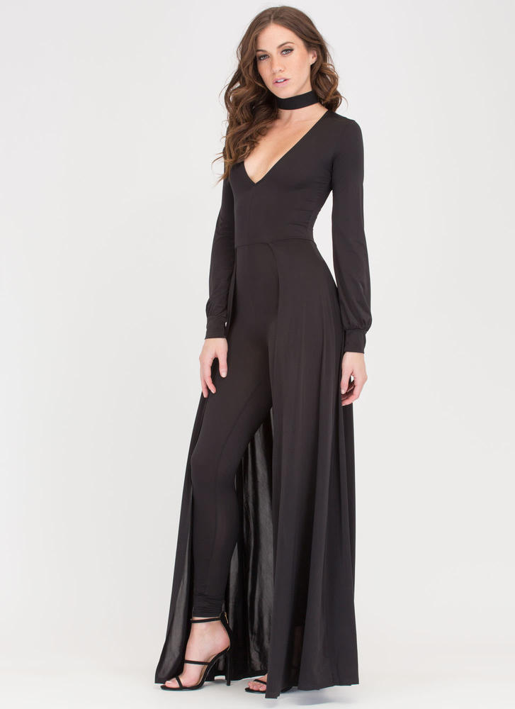 Sweep Off Your Feet Plunging Maxi BLACK