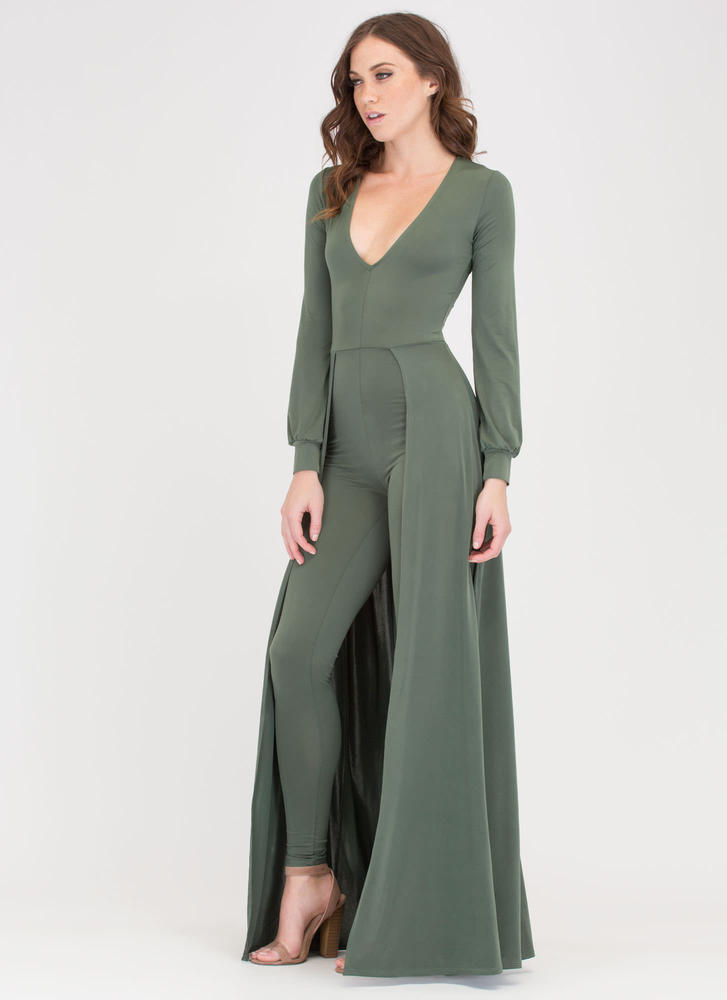 Sweep Off Your Feet Plunging Maxi OLIVE