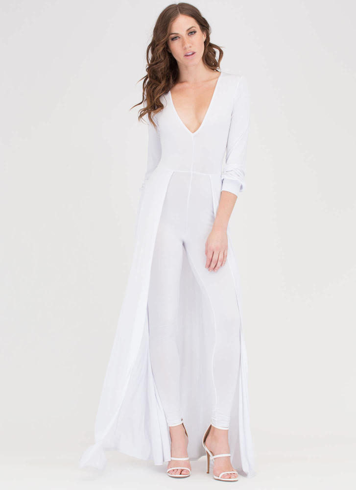 Sweep Off Your Feet Plunging Maxi WHITE