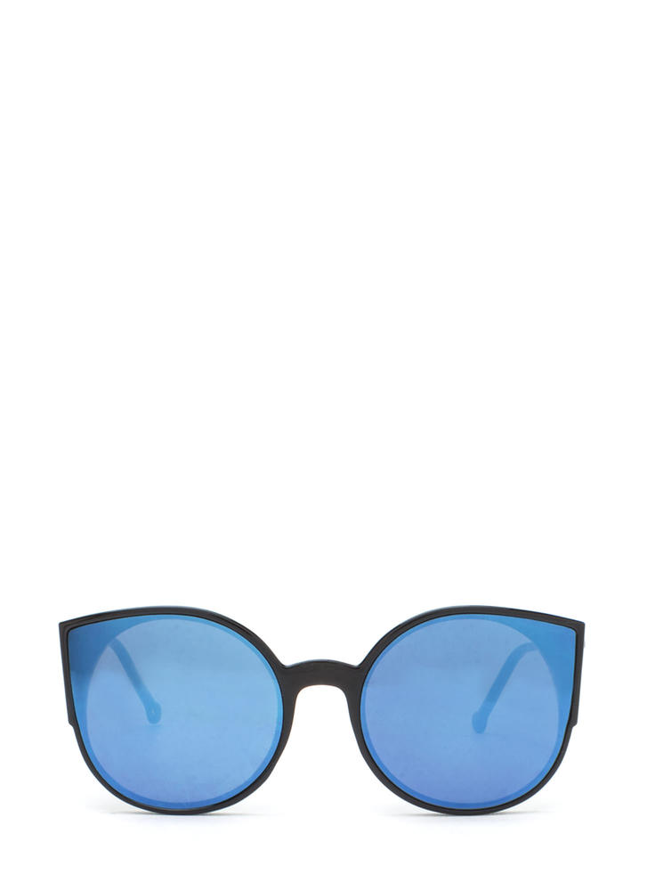 Right Meow Rounded Cat-Eye Sunglasses BLUEBLACK