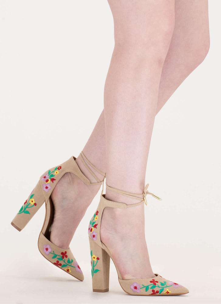 Flower Party Embroidered Chunky Heels
