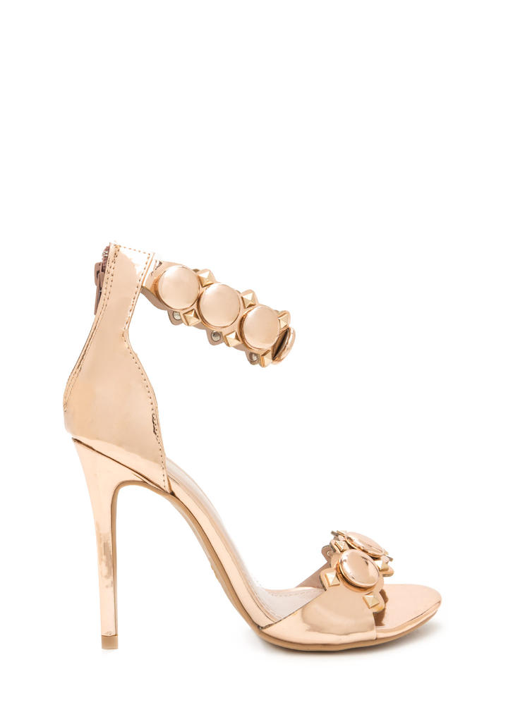 Circle The Stud Faux Patent Heels
