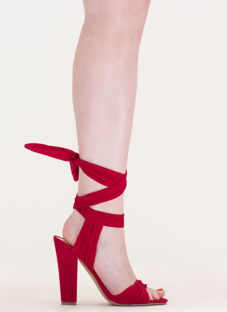 Lace-Up Lady Pleated Velvet Chunky Heels RED