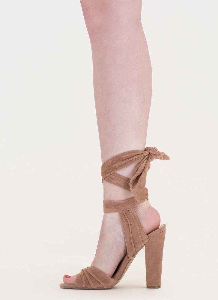 Lace-Up Lady Pleated Velvet Chunky Heels TAUPE