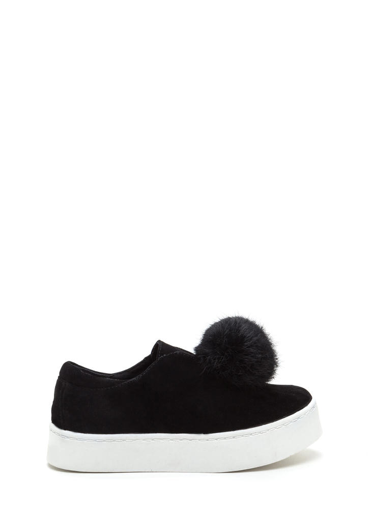 Keep Pom And Carry On Velvet Sneakers BLACK