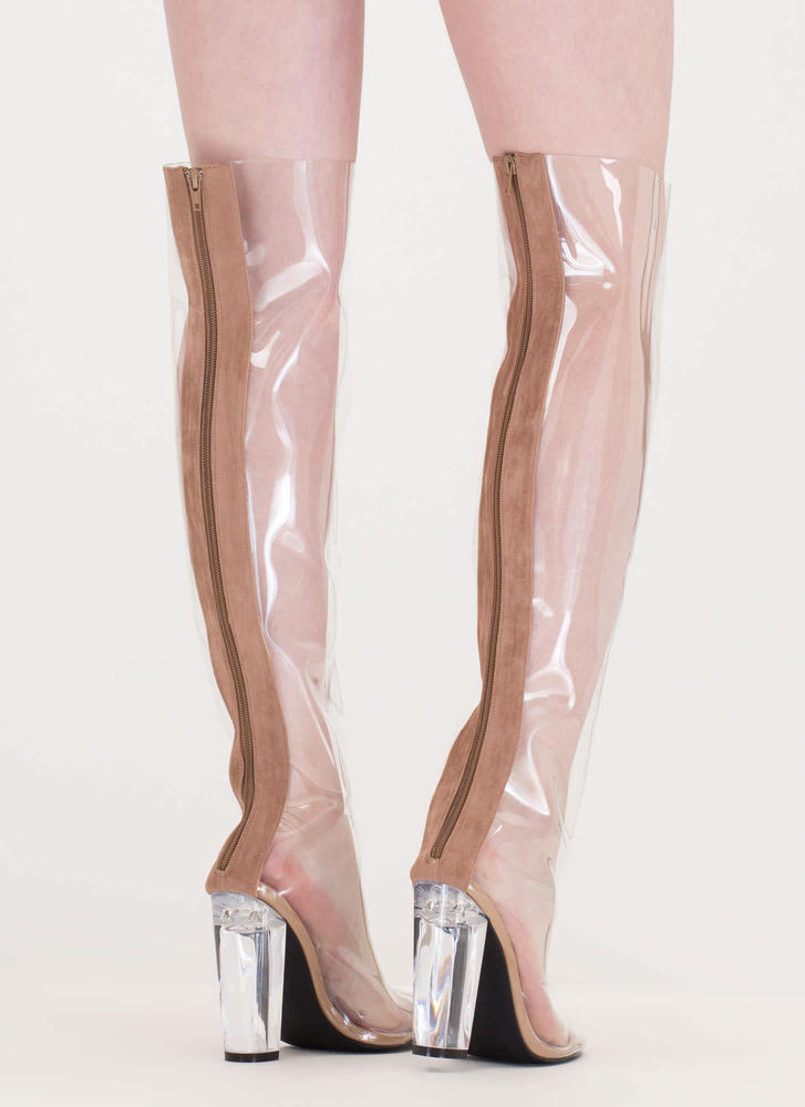 Clearly You Over-The-Knee Lucite Boots TAUPE