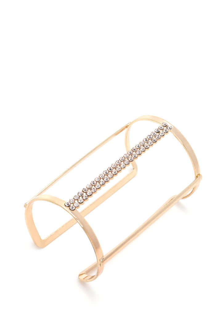 Life Of Glamour Caged Rhinestone Cuff GOLD