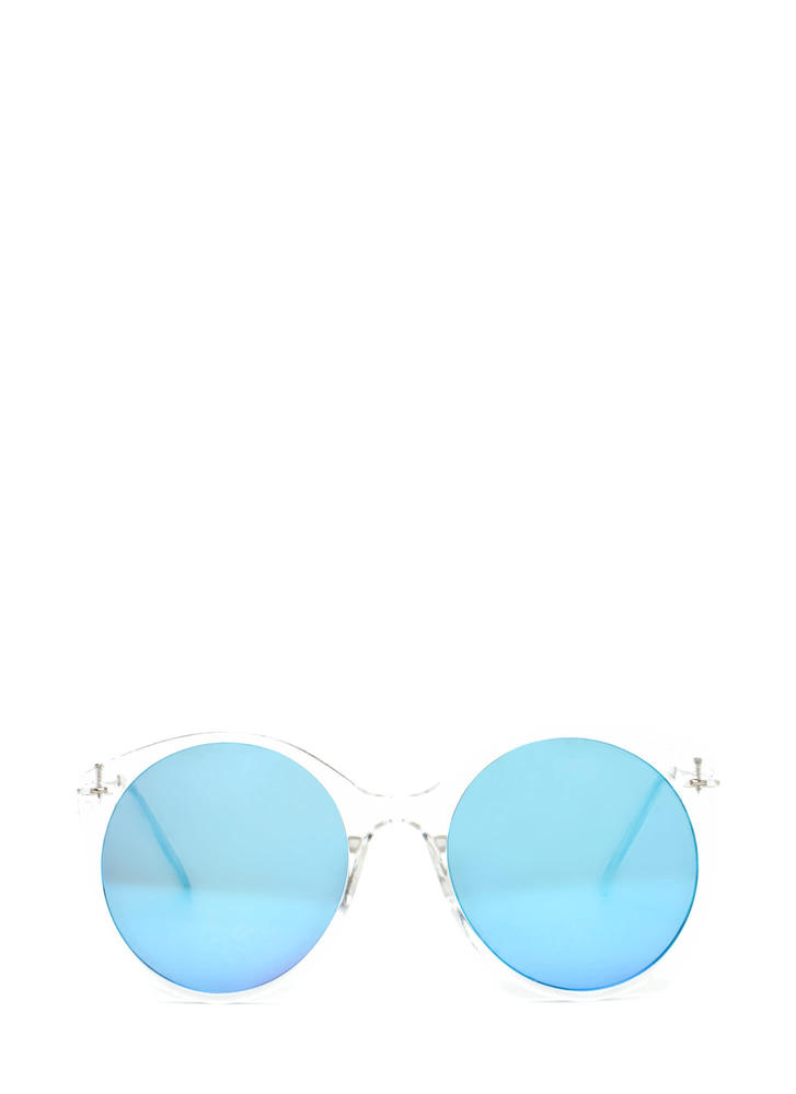 Clear Forecast Round Mirrored Sunglasses BLUECLEAR