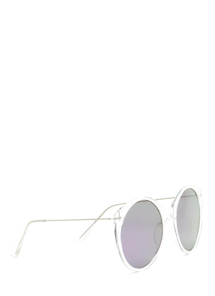 Clear Forecast Round Mirrored Sunglasses PURPLECLEAR