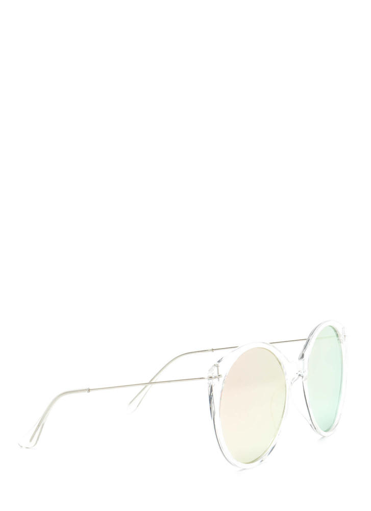 Clear Forecast Round Mirrored Sunglasses RGOLDCLEAR