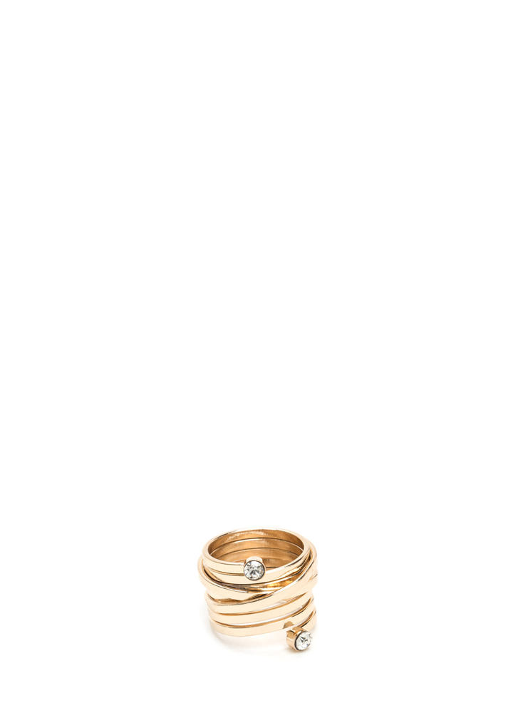 Play Doubles Jeweled Layered Ring