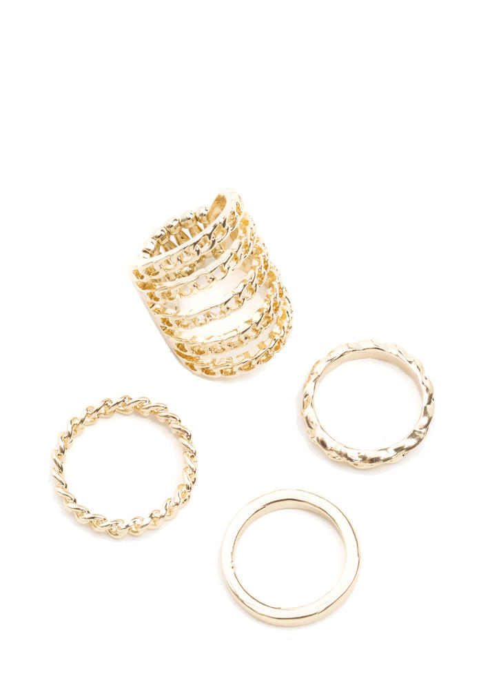 Chain Gang Stacked Ring Set GOLD