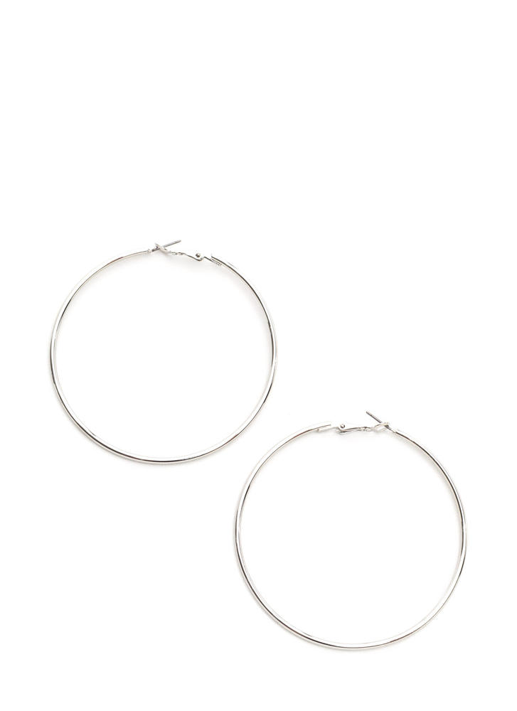 Big Idea Oversized Hoop Earrings SILVER