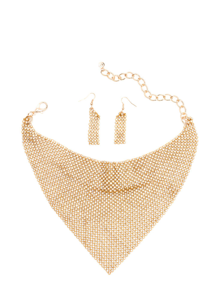 Game Changer Rhinestone Necklace Set GOLD