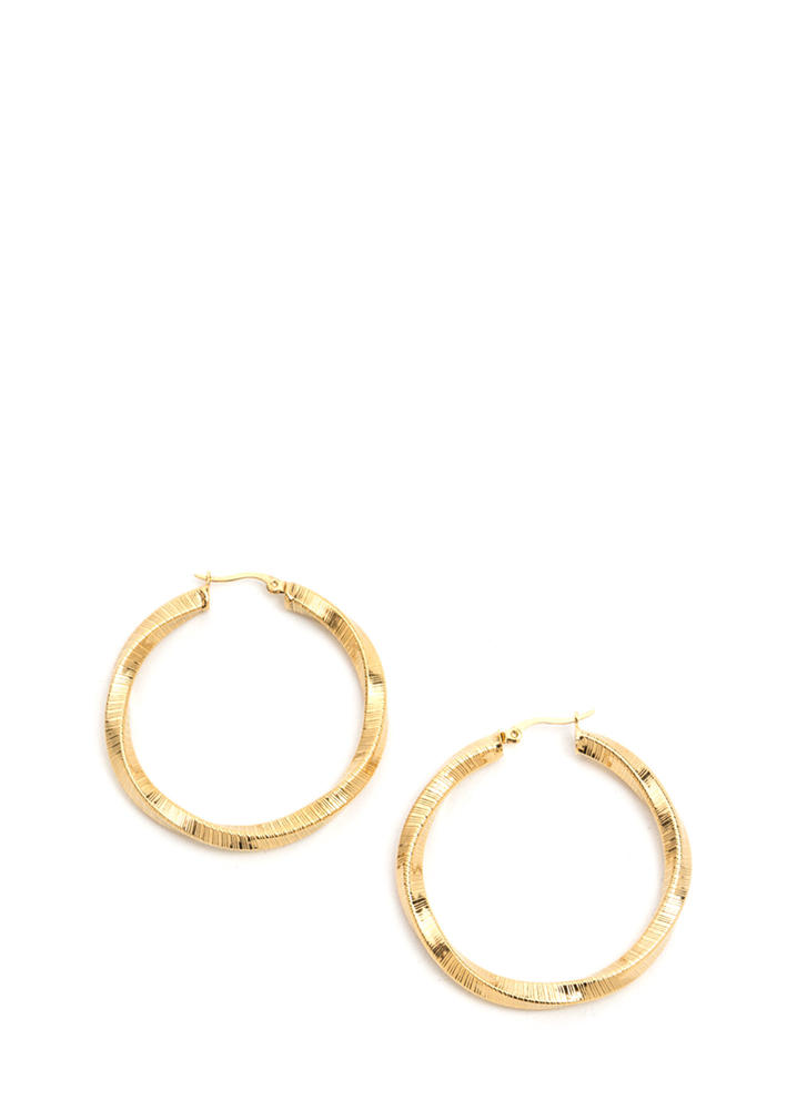 You're So Twisted Brushed Hoop Earrings GOLD