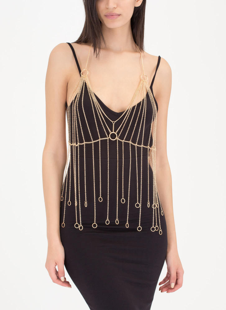 Ring It On Fringe Bralette Body Chain GOLD