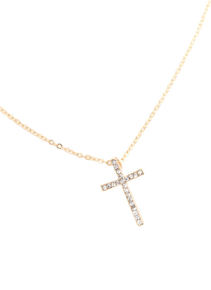 Have Faith Rhinestone Cross Necklace GOLD