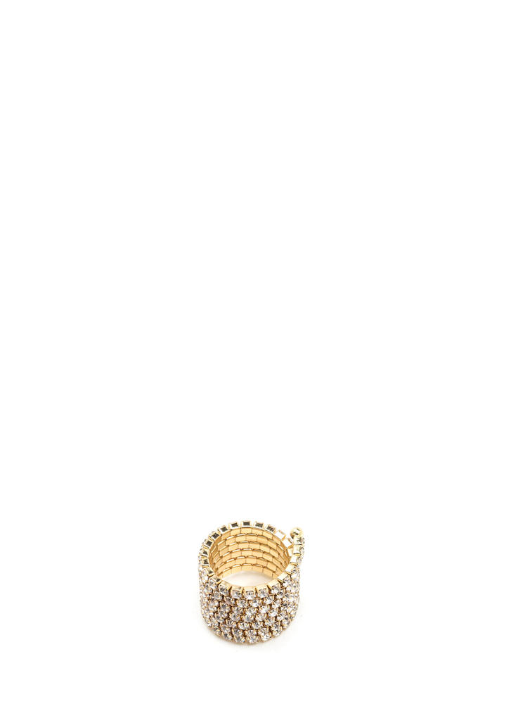 Treasure Hunt Stacked Rhinestone Ring GOLD