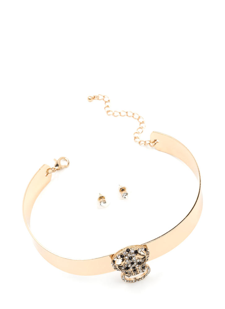 Jaguar Prowl Metal Collar Choker GOLD