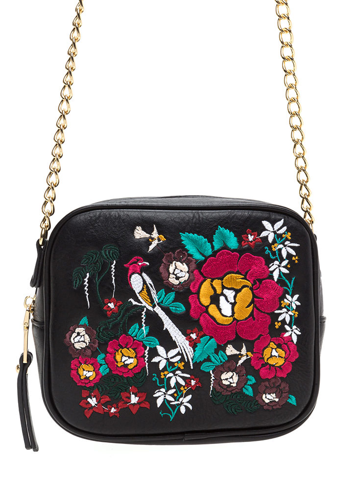 Good Nature Embroidered Purse BLACK