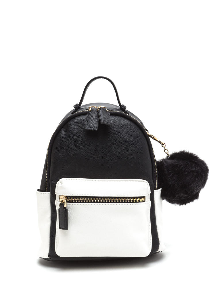 High Contrast Faux Leather Mini Backpack