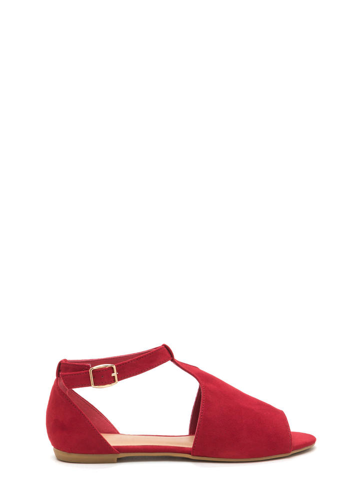 Festival Ready Faux Suede Flats RED