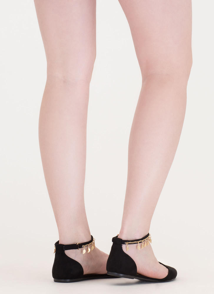 Nature Walk Pointy Faux Suede Flats BLACK