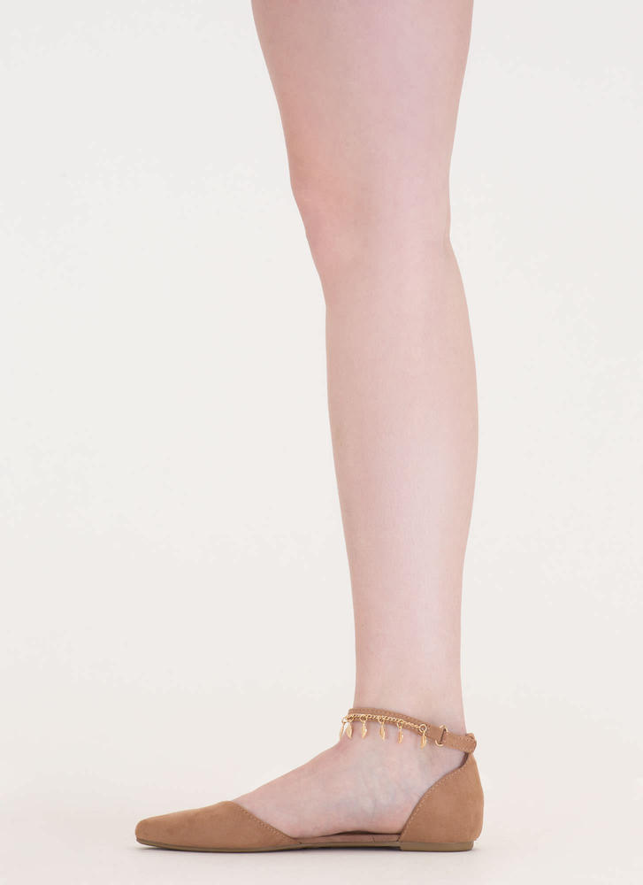 Nature Walk Pointy Faux Suede Flats CAMEL