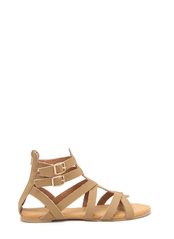 Woman Warrior Faux Nubuck Gladiator Sandals