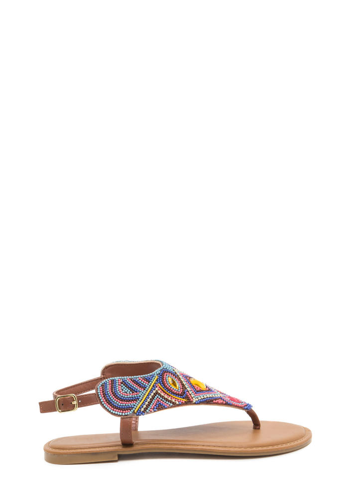 Pattern Play Faux Jewel Sandals CHESTNUT