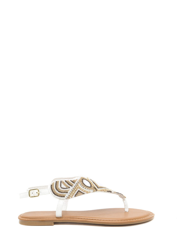 Pattern Play Faux Jewel Sandals WHITE