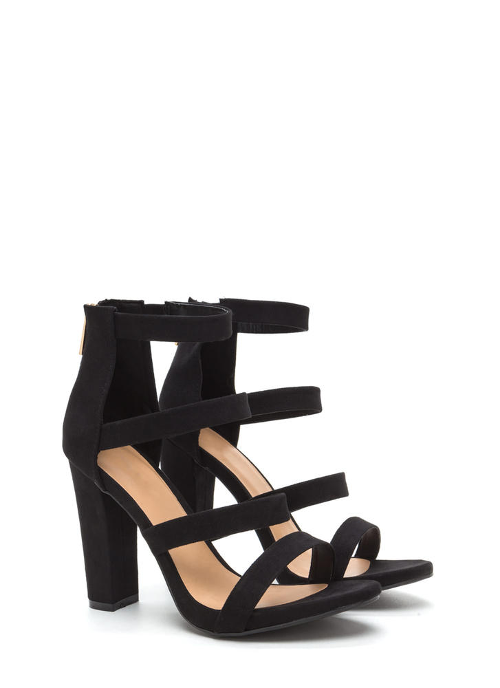 Quad Workout Strappy Chunky Heels BLACK