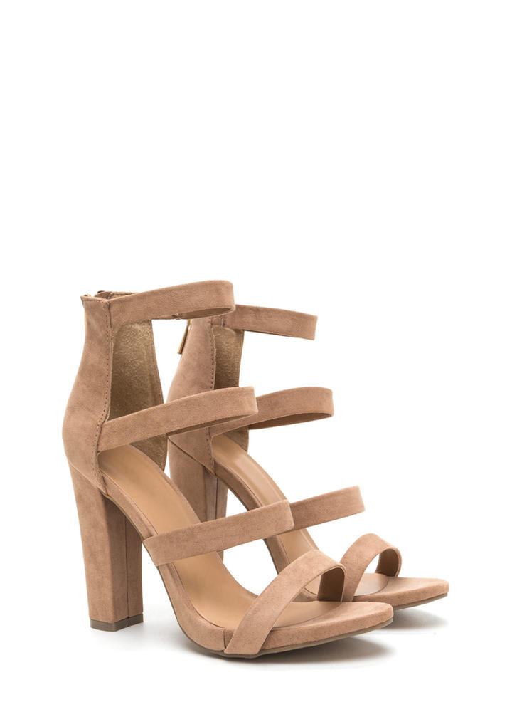 Quad Workout Strappy Chunky Heels CAMEL