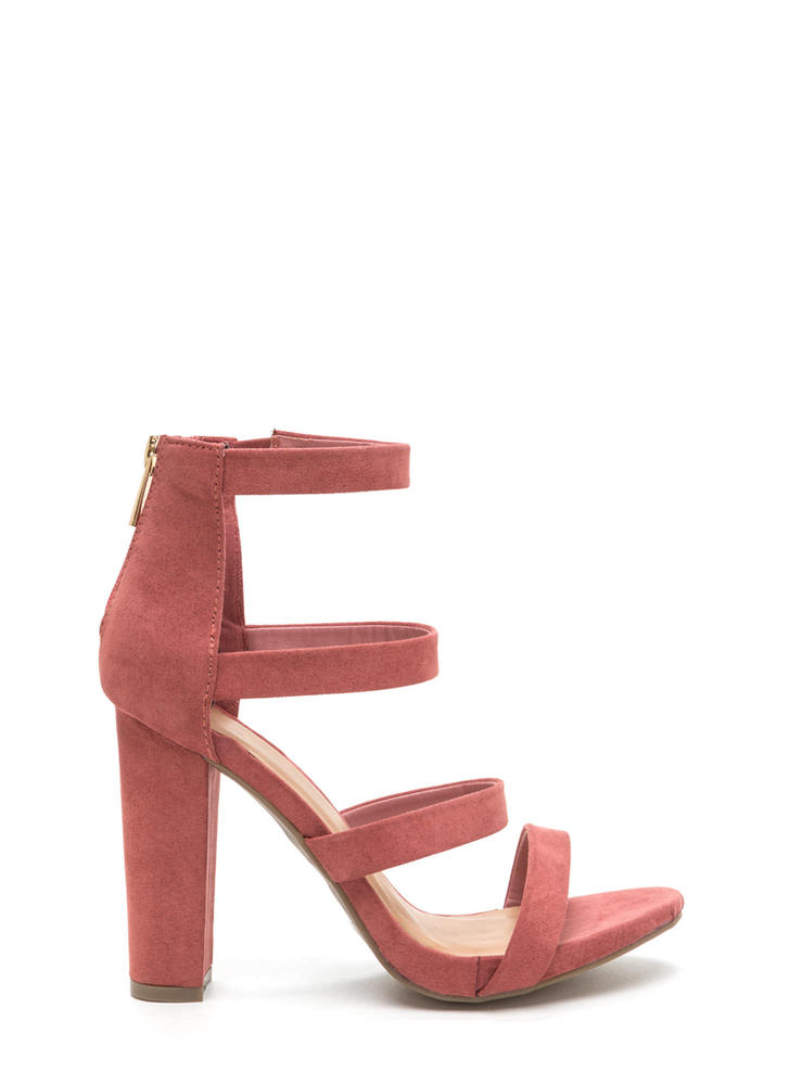 Quad Workout Strappy Chunky Heels MAUVE