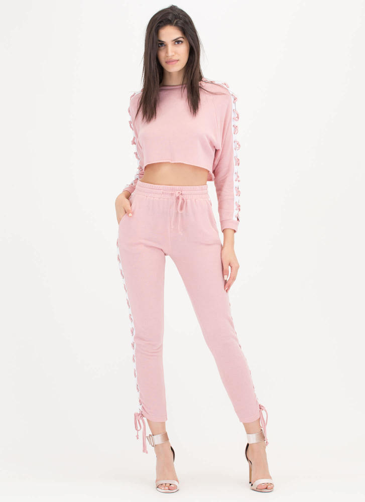 Lace-Up To You Top 'N Bottom Set PINK