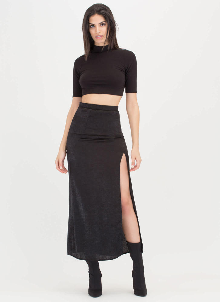 Bring Slit On Satin Maxi Skirt BLACK