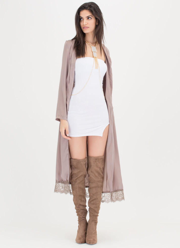Romance Novel Satin 'N Lace Duster TAUPE