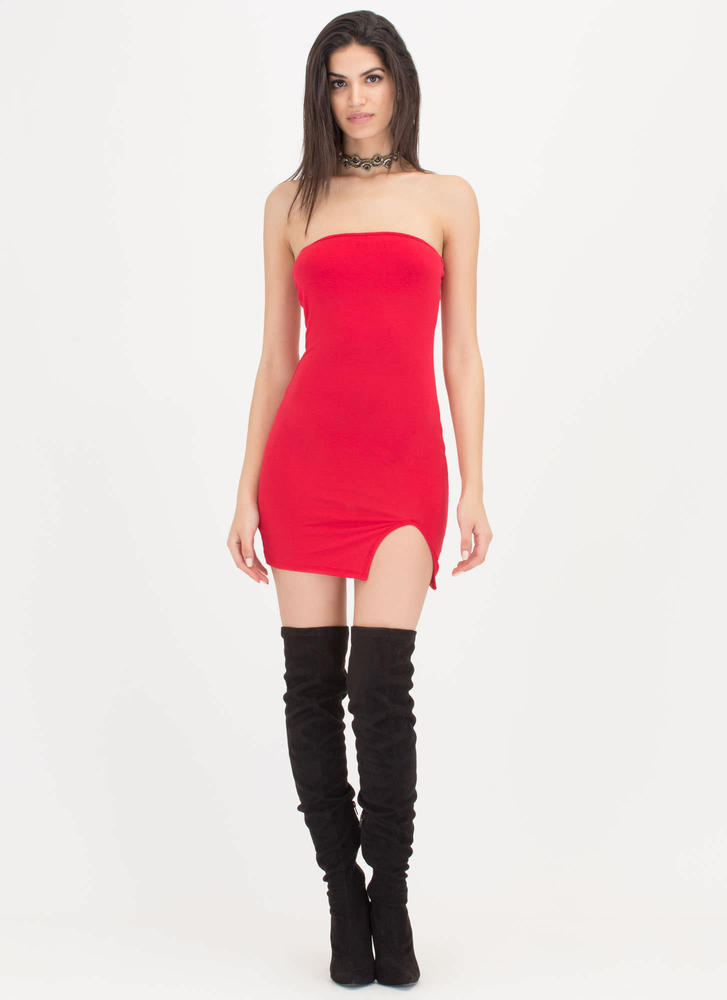 Ladies Night Out Strapless Minidress RED