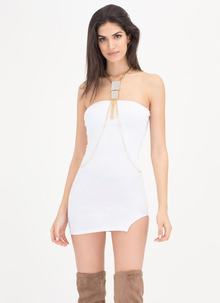 Ladies Night Out Strapless Minidress WHITE
