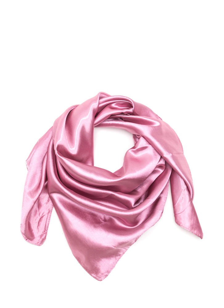 Fair Weather Square Satin Scarf DUSTYPINK