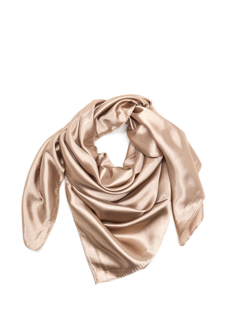 Fair Weather Square Satin Scarf TAUPE
